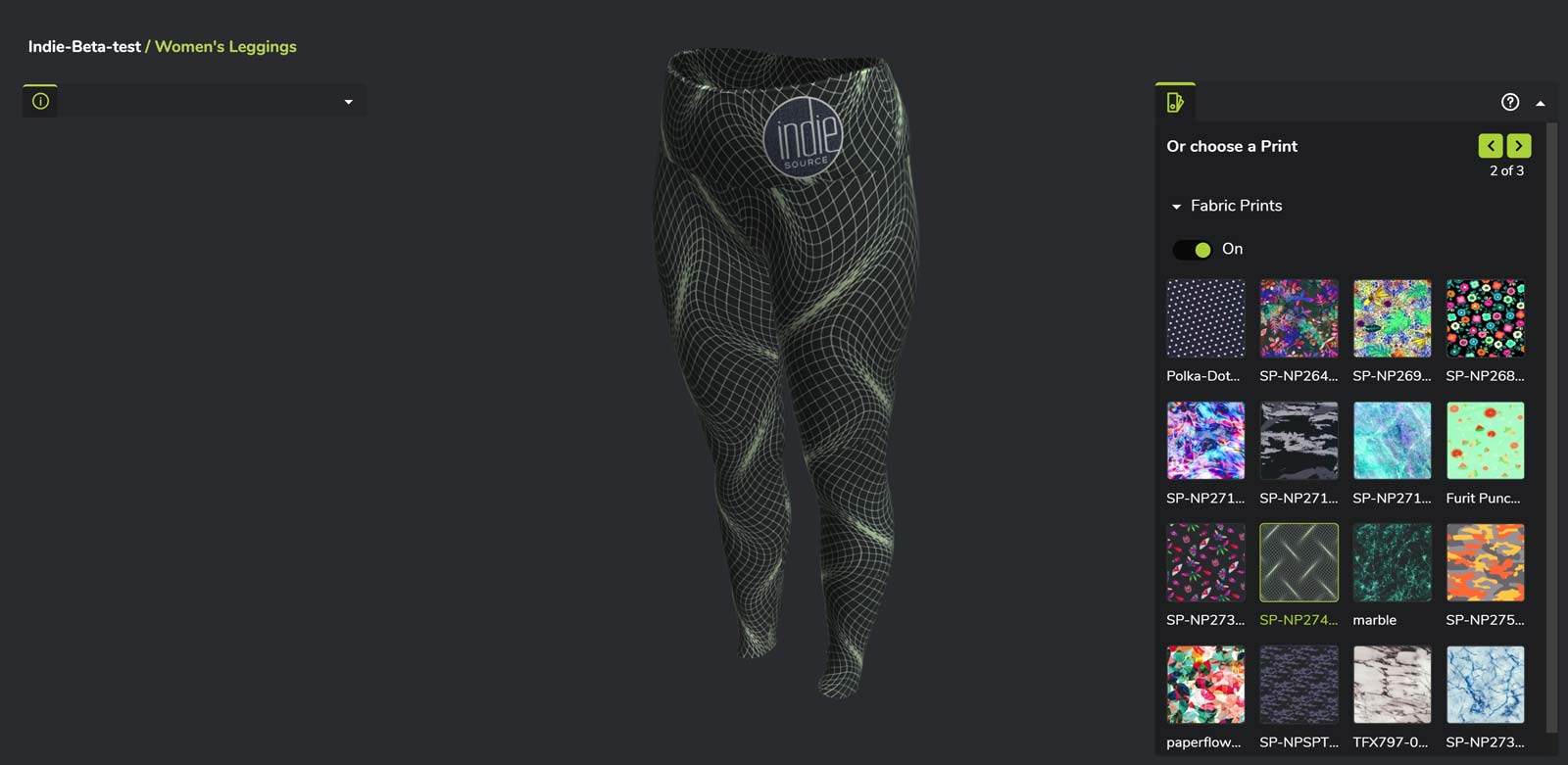 A screenshot of the 3d clothing design interface